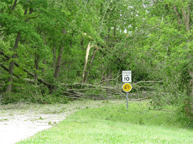 Resulting damage from the storm on May 8, 2009.