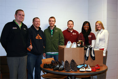 Student group collecting shoes for 'Soles4Souls'
