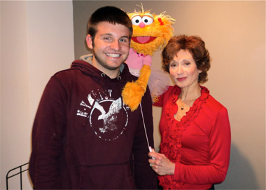 Ryan Dozier and Zoe, from Sesame Street