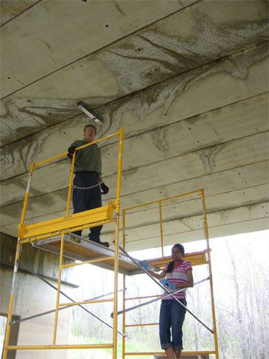 Installing sensors on a bridge