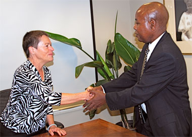 Chancellor Rita Cheng and Professor John Kiggundu