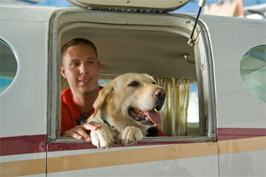 Jason Brown and his dog, Tonka