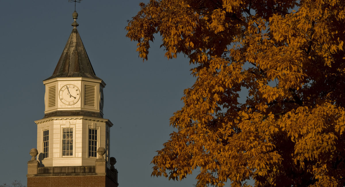Pulliam clocktower in the fall